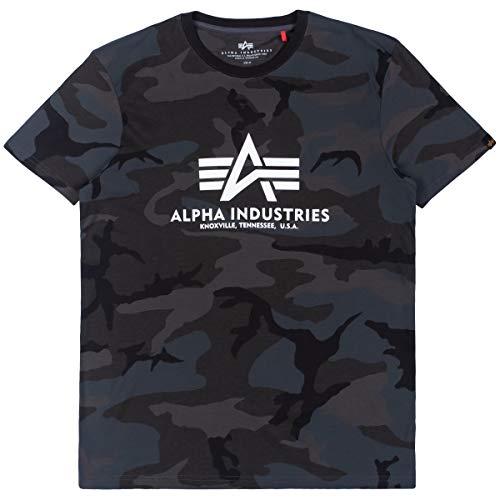 ALPHA INDUSTRIES Basic T-Shirt Canottiera, Nero – Mimetico, S Uomo