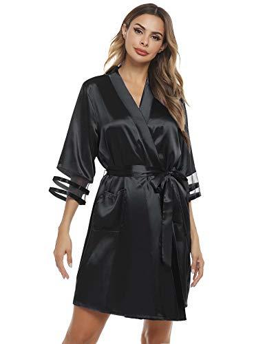 Aiboria Dam morgonrock kimono satin kortärmad badrock badrock med bälte V hals nattkläder transparent manschett 2 ränder