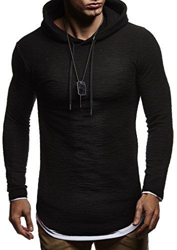 Leif Nelson Herren Kapuzenpullover Slim Fit Baumwolle-Anteil Moderner weißer Herren Hoodie-Sweatshirt-Pulli Langarm Herren schwarzer Pullover-Shirt mit Kapuze LN8120 Schwarz Large