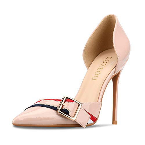 GOXEOU Zapatos de corte para mujer, punta puntiaguda, hebilla de metal, tacón de aguja, tacones altos, zapatos de vestir D'Orsay, sexy, moda para fiesta, color Rosa, talla 40 EU
