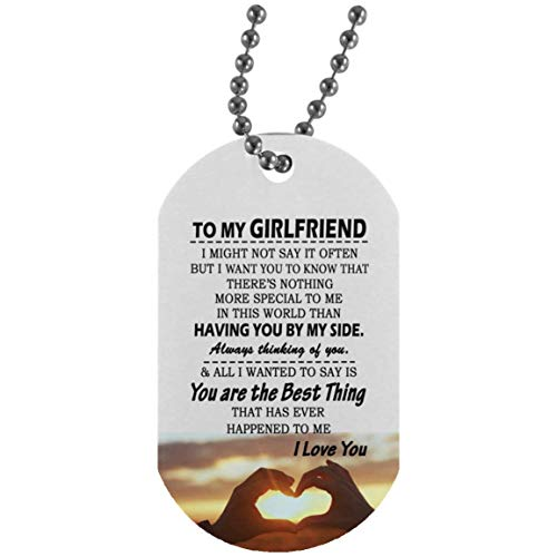 Dog Tag Military Ball Chain for Girlfriend - Boyfriend and Girlfriend Necklace You are Best Thing Quotes Pendant - Happy Birthday Presents for Her - Gag Gifts for Your Woman