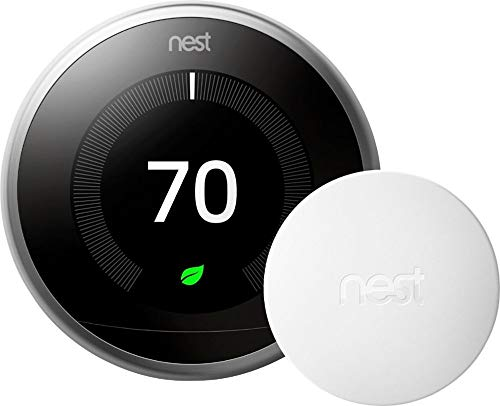 Nest 3rd Generation Learning Programmable Wi-Fi Thermostat with Bonus Temperature Sensor - Stainless Steel