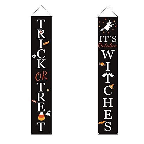 Decoraciones de Halloween Decoraciones de porche Cartel de truco o trato al aire libre Porche de Halloween Carteles de bienvenida de Halloween
