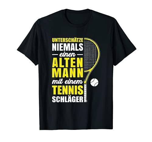 Hombre Nunca subestima a un hombre de raqueta de tenis antiguo. Camiseta