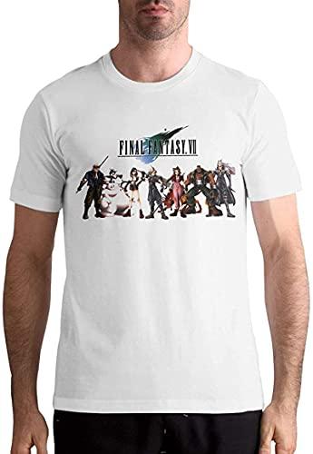 ファイナルファンタジーVIIメンズ半袖スタンダードTシャツ綿100%グラフィックTシャツホワイトルーズトップローキー-White-X-Large