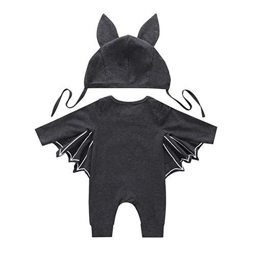 Conjuntos para Niño Invierno Bodies Manga Larga de Murciélago Disfraz Halloween + Gorro con Orejas Fiesta de Halloween Ropa Cosplay (Gris Oscuro, 6-12 M)