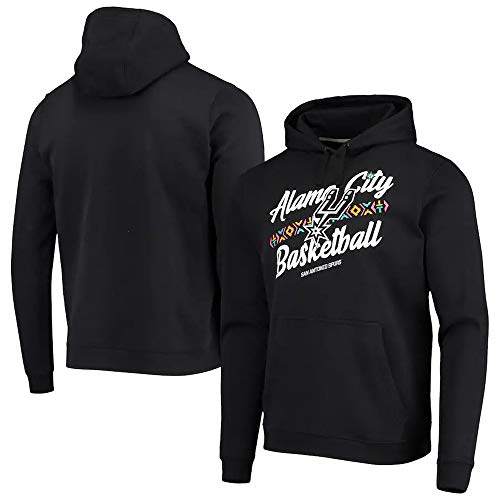 BMSD Sudaderas con Capucha de Jersey Unisex Hombre NBA Spurs Pullover con Estampado Negro Sudaderas de Manga Larga, S