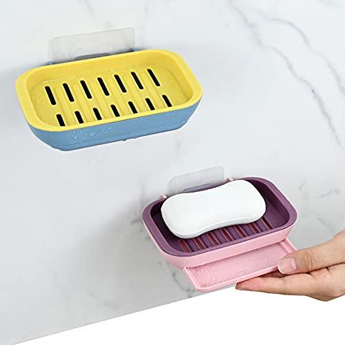 YancLife Jabonera,  paquete de 2 jaboneras montadas en la pared,  sin taladrar con agujeros de drenaje para baño/cocina y ducha,  mantiene el jabón seco y fácil de limpiar