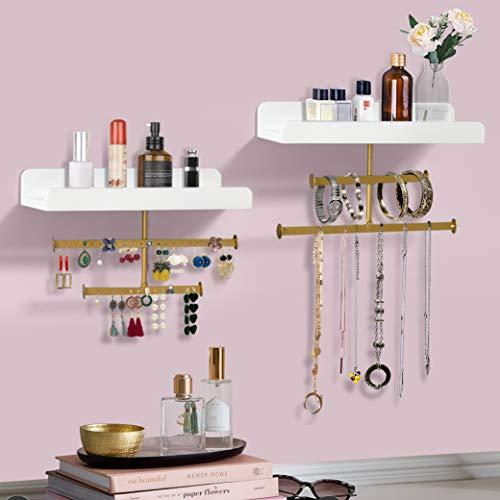 AHDECOR Organizador de joyas Soporte de madera para colgar en la pared Exhibidor con estante para collares Pulsera Pendientes Anillo y cosméticos Juego de 2