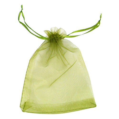 ATCG 100pcs 3x4 Inches Drawstring Organza Pouches Wedding Party Favor Gift Candy Bags (GREEN)