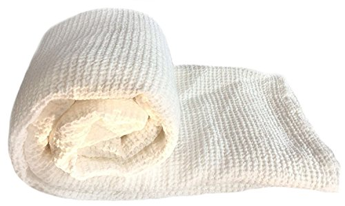 JOWOLLINA XXL Waffelpique Bettüberwurf Plaid Decke Leinenmischung Stonewashed vorgewaschen (220x240 cm, Off White)