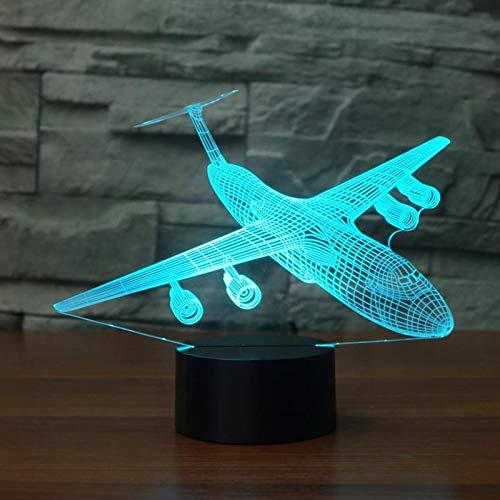 3D Flugzeug Optische Illusions-Lampen, Tolle 7 Farbwechsel Acryl berühren Tabelle Schreibtisch-Nachtlicht mit USB-Kabel für Kinder Schlafzimmer Geburtstagsgeschenke Geschenk