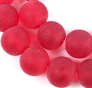 25 Frosted Sea Glass Round/Rocaille Beads Matte - Siam Ruby 10mm