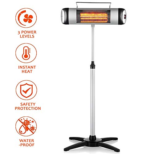 Electric Outdoor Heater, Waterproof Space Heater with 3 Power Levels and Remote Control, Indoor/Outdoor Heater, Free-Standing and...