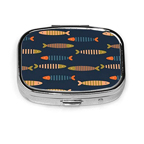 Square Pill Box Medicine Case Striped Fish Dark Blue Fashion Pill Organizer Travel Pill Case Dispenser for Vitamins Supplements