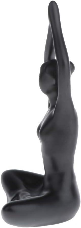 Black 1 Girl Ceramic Figurines 100x130x60mm Yoga Pose Black Model Woman Statue Hellery Sculpture