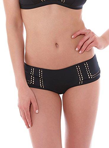 HUIT Damen Hosen Bikinihose, My All Shorty Einfarbig, Gr. 40 (Herstellergröße: 40), Schwarz - Schwarz