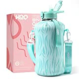 H2O Capsule 2.2L Half Gallon Water Bottle with Storage Sleeve and straw lid– BPA Free Large Water Bottle/2.2 Liter (74 Ounce) Big Sports Bottle Jug with Handle (Teal Tiger)