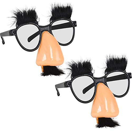 The Dreidel Company Child's Disguise Glasses, Funny Eyes and Nose with Mustache Glasses, Party Favors (2-Pack)