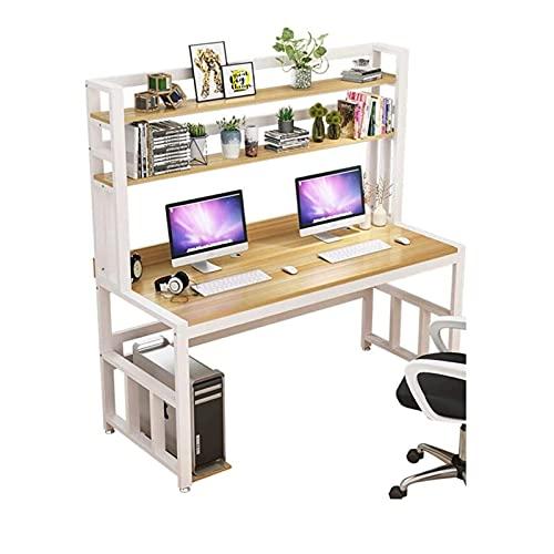 Tolalo Escritorio de ordenador, ordenador portátil, mesa de ordenador con estantería, mesa de ordenador de madera, para mesita de noche de oficina en casa (99 x 60 cm)