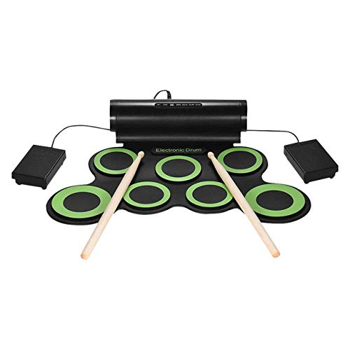 DJYD Stereo E-Drum Set, 7 Silikon-Pads USB Einbau-Aktivlautsprecher, mit Fußpedale, 3,5-mm-Audio, grün FDWFN (Color : Green)