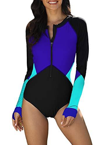 Eytino Damen-Badeanzug mit langen Ärmeln, UV-Schutz, bedruckter Reißverschluss, Surfen, einteiliger Badeanzug (S-3XL) - Blau - Medium