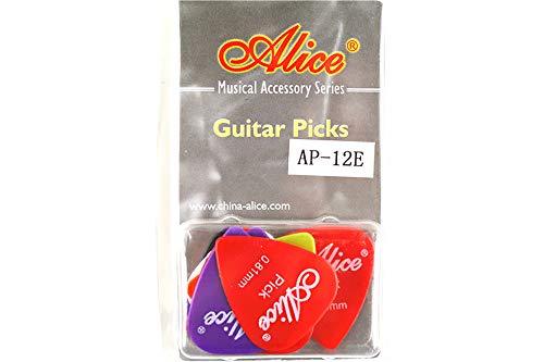 Alice アリス AP-12枚 ABS、ナイロン、セルロイド ギター ピック プレクトラム パック厚さ色混合 透明な包み (AP-12E)