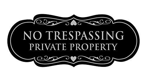 Signs ByLITA Designer No Trespassing Private Property Sign(Black/Silver) - Medium