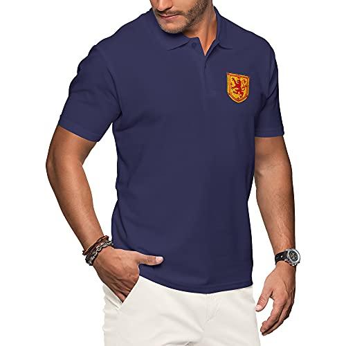 Purple Print House Schottland-Polo-Shirts für Herren, Fußballtrikot 2021, Retro-Fans, Rugby-Baumwolle, besticktes Wappen, Abzeichen der königlichen Löwenflagge Gr. L, navy
