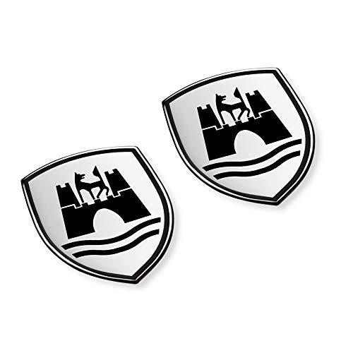 Volkswagen 5C0064317ASXRW Dekorfolien Set Wolfsburg Wappen Emblem satinschwarz chromglanz