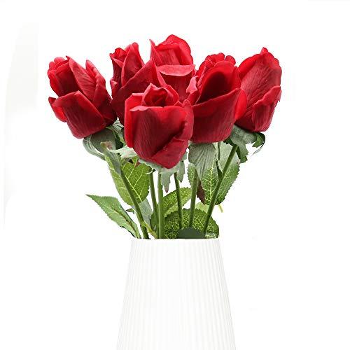 Flores Artificiales, 6 Piezas de Rosas Artificiales, Ramo de Boda Nupcial de...