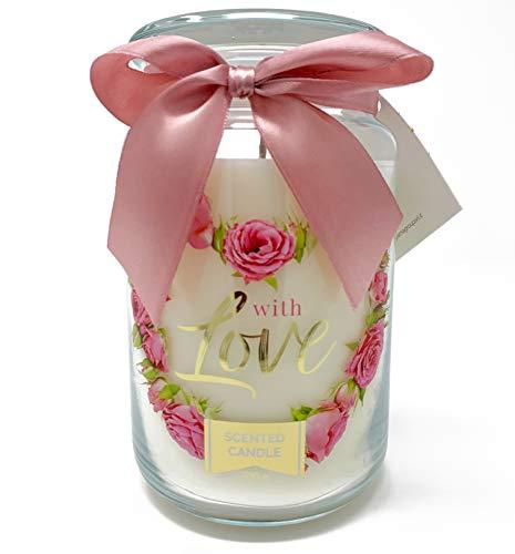 candele profumate vetro PAMA GROUP Candela Profumata Decorativa Giara in Vetro Grande Home Profumo alla Rosa Dolce Lunga Durata Idea Regalo Cerimonia Bomboniera Aromaterapia Candle Spa (Rosa)