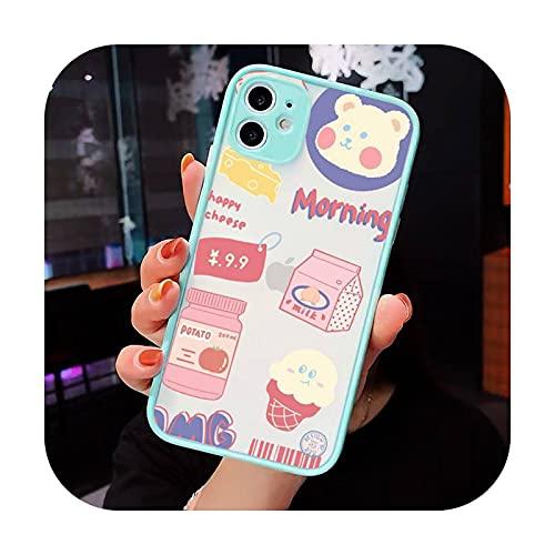 Lindo anime chica aperitivos Teléfono Carcasas Mate transparente para iPhone 12 Mini 11 Pro XR XS Max 7 8 Plus X contraporta-a7-iPhone12pro max