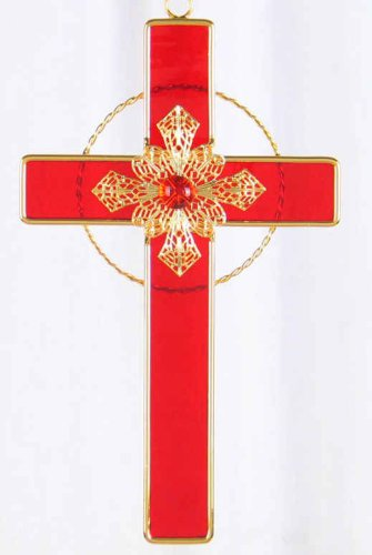 Stained Glass Cross with Filigree - Ruby Red