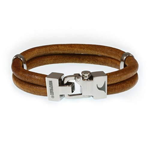 WAVEPIRATE® Echt Leder-Armband Turn R Cognac 24 cm Edelstahl-Verschluss in Geschenk-Box Surfer Herren Männer