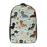 Dachshund Coffee Latte Dachsie Doxie Dog Backpacks 17 Inch Durable Lightweight Shoulder Bag for College Laptop Daypack