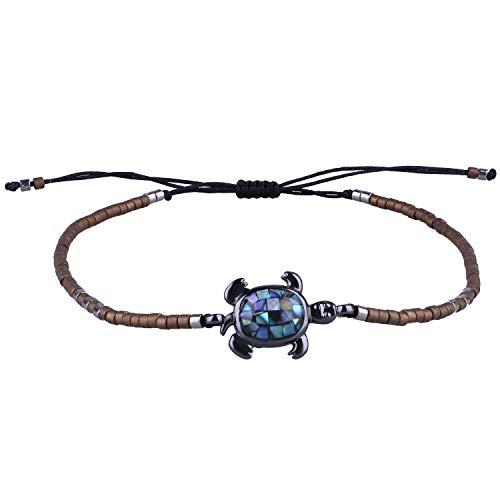 KELITCH Abalone Shell Perlen Armband Einstellbar Knoten Schildkröte Anhänger Samen Perlen Wrap Armband Freundschaft Schmuck (Kaffee)