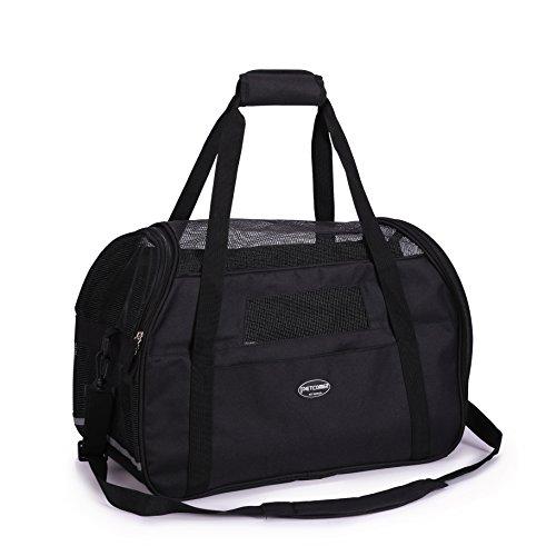 BabycarePro transporttas voor huisdieren voor honden & katten Comfort airline goedgekeurde reisetote zacht-zijdig tas met Mat, m, zwart