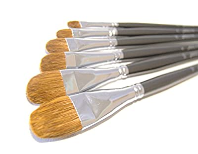 Red Sable Filbert Paint Brushes - Set of 6 Acrylic, Watercolor, Mixed Media or Oil Paint Brushes. Long Handle Professional Art Supplies for Canvas Painting