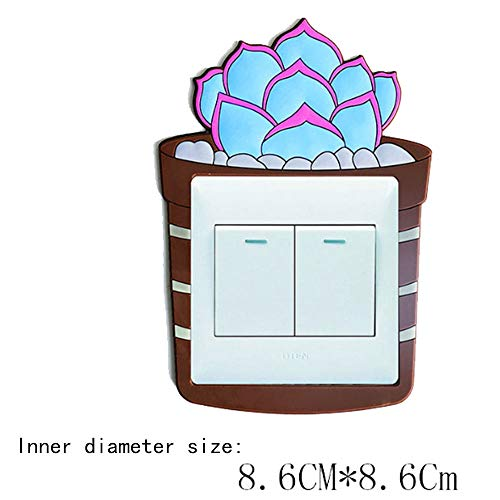 CLOUD 3D Autocollant Mural Commutateur Fluorescent - Couvercle De Commutateur De Prise Home Decor Decor Luminous Switch Sticker (Blue Stone Lotus)