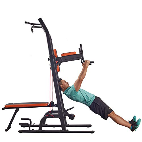 HARISON Multifunction Power Tower Pull Up Dip Station with Bench Adjustable Height for Home Gym Strength Training Fitness Equipment , Dip Stands, Pull Up Bars, Push Up Bars, VKR