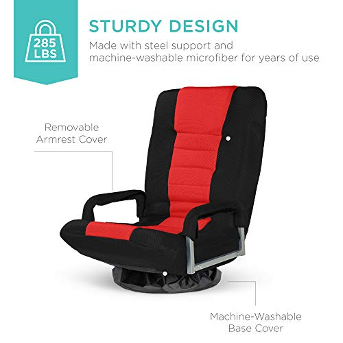 Best Choice Products Multipurpose 360-Degree Swivel Gaming Floor Chair for TV, Reading, Playing w/Lumbar Support, Armrest Handles, Foldable Adjustable Backrest - Red