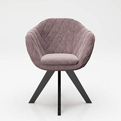 PLAYBOY Polsterstuhl mit Armlehne & Samtbezug, gepolster Drehstuhl im Retro-Design für Esszimmer, Küche & Lounge, rosa, rose quartz mit matten Metallfüssen