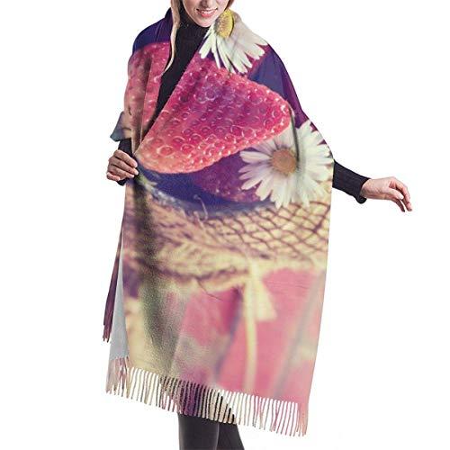 Tengyuntong Pashmina Wrap Manta Bufanda, Mujer Pashmina Bufanda, Fresas Frutas, Bufanda de gran tamaño, Chal Borlas Acogedoras Checked Pashmina