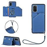 FHXD Compatible con Funda Samsung Galaxy S20 Plus con Tarjetero PU Cuero Wallet Caso [Protector de Pantalla] Ranura para Tarjetas y Soporte Plegable Anti-Shock Cubierta-Azul Real