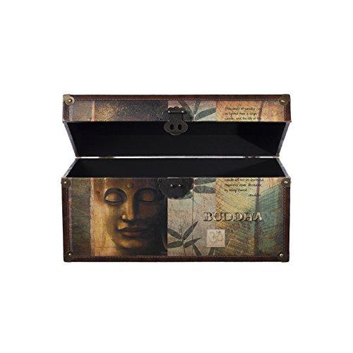 Truhe Kiste SJ12295 Buddha Kiste , Holztruhe mit hochwertigem Canvas bezogen im Vintage Look, Schatzkiste,Kiste, Piratenkiste, Kleinmöbel, Mit Metallbeschlägen, Antikoptik, Holz, verschieden Größen, Maritim, Deko, Hochwertig, Kolonialtruhe, Kolonials