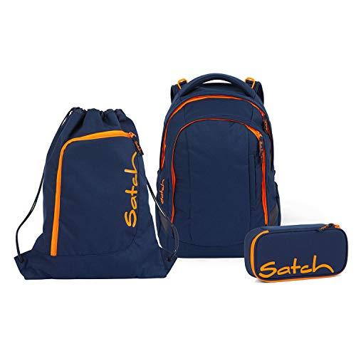 Satch Sleek Toxic Orange Schulrucksack Set 3tlg.