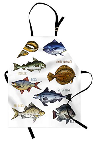 Ambesonne Fishing Theme Apron, Various Fish Types Like EEL Tuna Haddock and Roach with Written Names, Unisex Kitchen Bib with Adjustable Neck for Cooking Gardening, Adult Size, White Multicolor