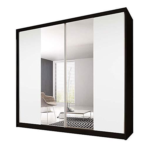 Idzczak Meble Schwebetürenschrank Claudia 13 233 mit Spiegel Kleiderschrank mit Kleiderstange und Einlegeboden Schlafzimmer- Wohnzimmerschrank Schiebetüren Modern Design (Schwarz/Weiß + Spiegel)