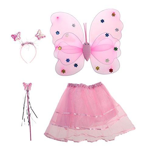 Tinksky 4pcs Winkel Mädchen Fee Kostüme mit Flügel Stirnband Stab Tutu Rock Set (Pink)